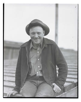 Herb Dahl, three-quarters portrait, probably at Pacific International Livestock Exposition