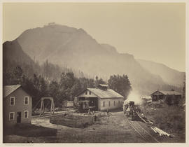 """O.S.N. Co's Works. Lower Cascades, Columbia River."" (Mammoth 428)"