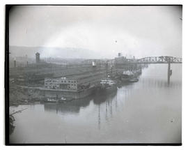 Ships docked at McCormick Terminal on Willamette River, Portland