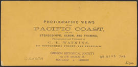 "Verso of, ""Dalles City from Rockland. Columbia River."" (Stereograph 1303)"