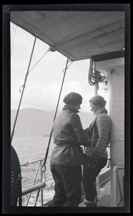 Irene and Phoebe Katherine Finley on the deck of the MV Westward