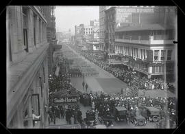 Troops marching on 6th Street, Portland, during War Activities parade