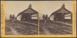 """Car House at the Cascades, Columbia River."" (Stereograph 1254)"