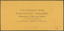 "Verso of, ""Steamer Oneonta, Upper Cascades, Columbia River."" (Stereograph 1269)"