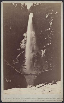 """D129. Upper Multnomah Fall After the Chinook--Winter of 1884-5--Columbia River, Or."""