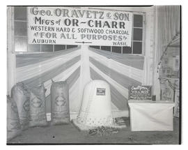 Display of Gorge Oravetz & Son poultry charcoal, probably at Pacific International Livestock ...