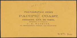 "Verso of, ""Indian Camp at the Head of the Dalles. Columbia River."" (Stereograph 1326)"