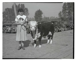 Jean Ann Richards of Union, Oregon, with champion steer at Pacific International Livestock Exposi...