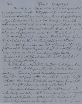 Letter from Joel Palmer to R.B. Metcalfe
