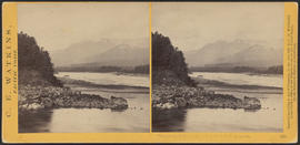 """View on the Columbia River from the O.R.R., Cascades."" (Stereograph 1291)"