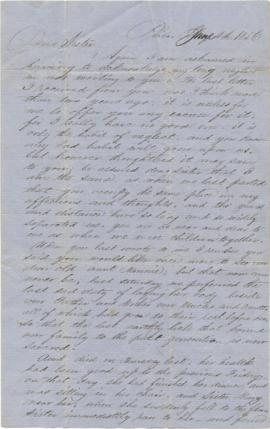Letter to Sarah Ann Palmer from John Derbyshire