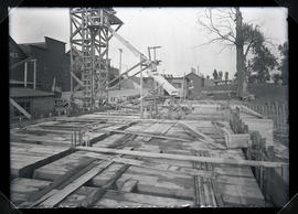 Vancouver substation, during construction, showing framework for first floor and new sub foundation