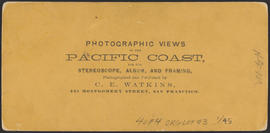 "Verso of, ""The Willamette Falls, Oregon."" (Stereograph 1219)"