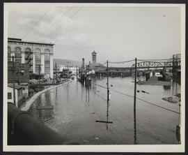 Locomotive and Union Station in Flood Water, Vanport Flood