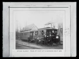 Steam dummy train at East 6th Street and Morrison Street