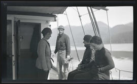 Phoebe Katherine and Irene Finley with others on the deck of the MV Westward