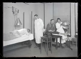 Two patients receiving light therapy