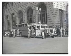 North Coast bus on street outside Bank of California building, Portland