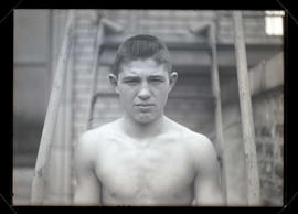 Unidentified boxer, head and shoulders portrait