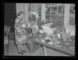 Woman looking at produce display