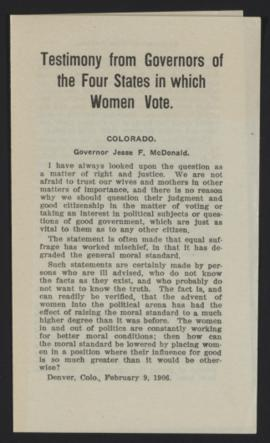Testimony from Governors of the Four States in which Women Vote