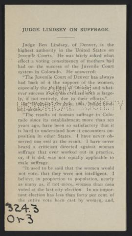 Judge Lindsey on Suffrage