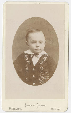 Portrait of an unidentified young boy from Shuster & Davidson Studio