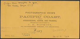 "Verso of, ""O.S.N. Co's office, Dalles City, Columbia River."" (Stereograph 1310)"