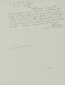 Photocopy of letter from Joel Palmer to R.B. Metcalfe
