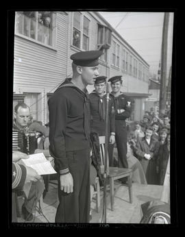 U.S. Navy serviceman Russell H. Jones Jr. speaking during award ceremony at Albina Engine & M...