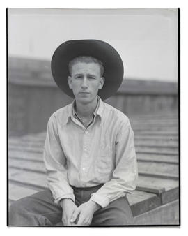 Jim McGee, three-quarters portrait, probably at Pacific International Livestock Exposition