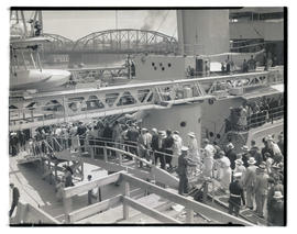 Crowds touring USS Houston in Portland after President Franklin D. Roosevelt's arrival