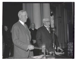 Senator Henry L. Corbett and Governor Charles H. Martin at opening of 1935 Oregon legislative ses...
