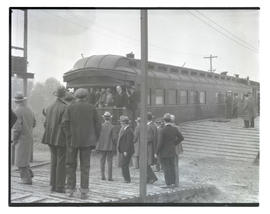 Train, possibly arriving at livestock show
