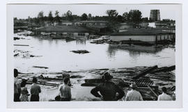 People viewing flood damage during the Vanport flood