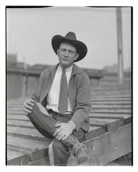 Ed McCarty, three-quarters portrait, probably at Pacific International Livestock Exposition