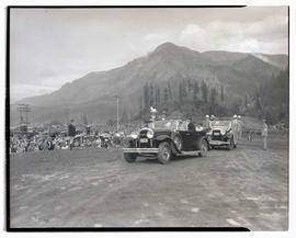 President Franklin D. Roosevelt arriving to give speech at Bonneville dam construction site