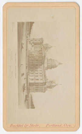 Photo of a drawing of the Oregon Capitol from Buchtel and Stolte Studios