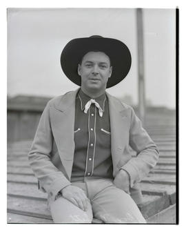 Don Nesbitt, three-quarters portrait, probably at Pacific International Livestock Exposition