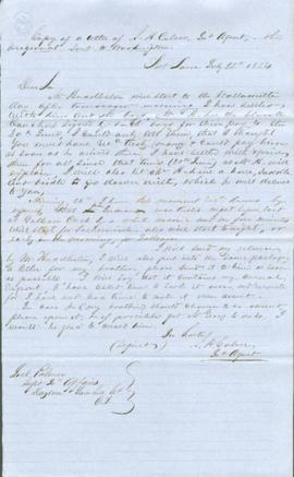 Copy of a letter of Samuel H. Culver to Joel Palmer
