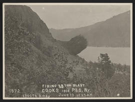 Blast for Railroad Construction in Columbia River Gorge