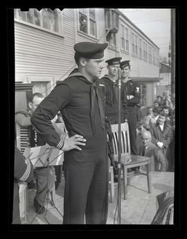U.S. Navy serviceman William D. Langston speaking during award ceremony at Albina Engine & Ma...