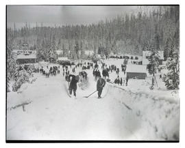 Boys shoveling snow on ramp at Government Camp
