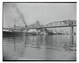 Ships moored on Willamette River near Broadway Bridge