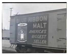 Advertisement for Blue Ribbon Malt on side of boxcar