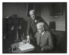 Walter M. Pierce and Isaac L. Patterson in governor's office, Oregon State Capitol