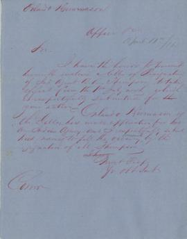 Letter regarding the resignation of R.R. Thompson from position as Indian Agent