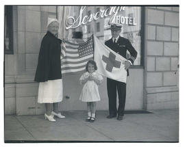 Jane V. Doyle of Portland Red Cross, grandniece Pamela Ann Parrish, and Commander Louis J. Gulliver