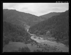 Aerial view of river near Robert Fox murder scene, Siskiyou mountains