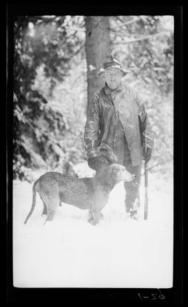 Kelley with a hunting dog